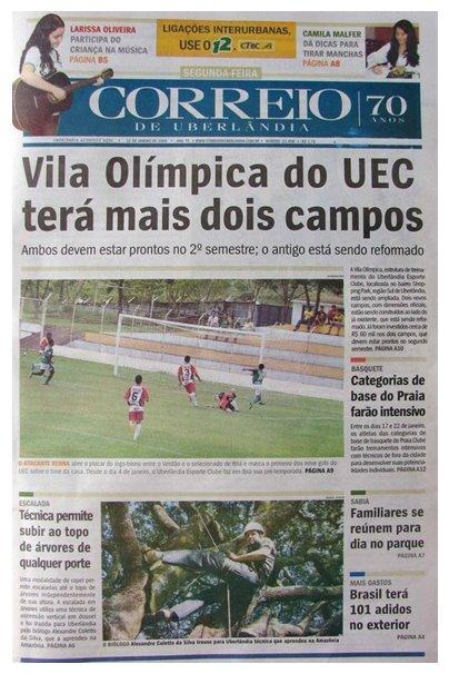 ENTREVISTA NO CORREIO DE UBERLÂNDIA - 12/01/2009