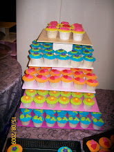 Colourful cupcakes tower