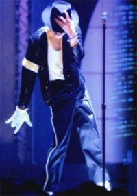 Michael Jackson doing his famous Moonwalk