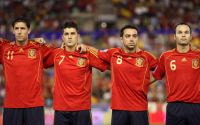 Spain's Capdevila, Villa, Hernandez and Iniesta