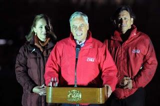 Chilean president Sebastian Pinera and Mining minister Laurence Golborne