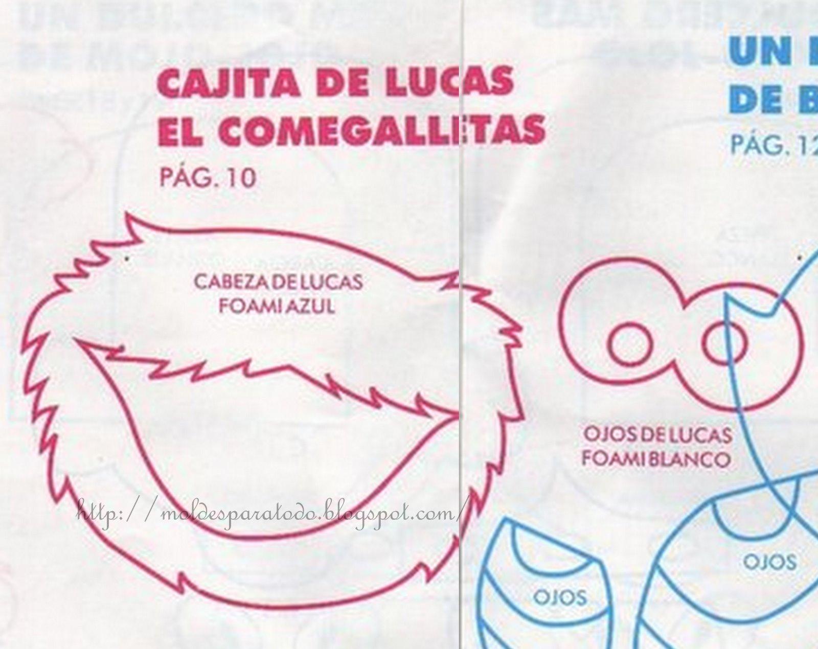 Moldes para Todo: * Cajita de Lucas el come galletas *