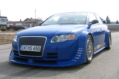 The more powerful Audi A4 Blue front view