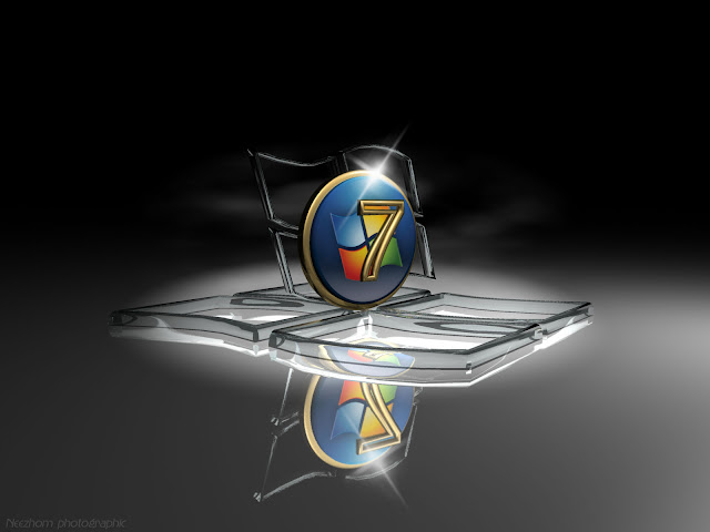 Windows 7 wallpaper - Glass and gold seven