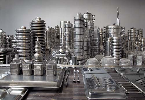 cityscape silverware sculpture by zhang wang