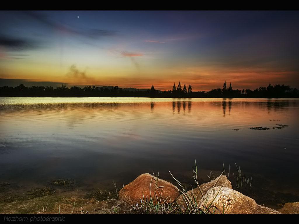 sunset di tasik Gong Badak