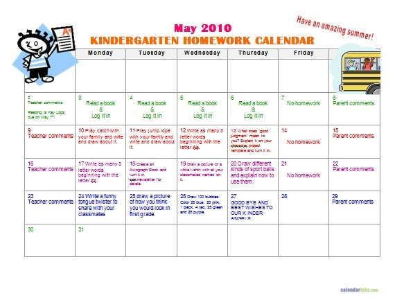 Kindergarten News At Lbj: Kindergarten May Homework Calendar