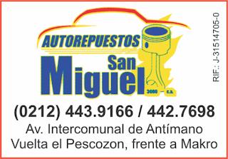AUTOREPUESTOS SAN MIGUEL 3000, C.A. en Paginas Amarillas tu guia Comercial