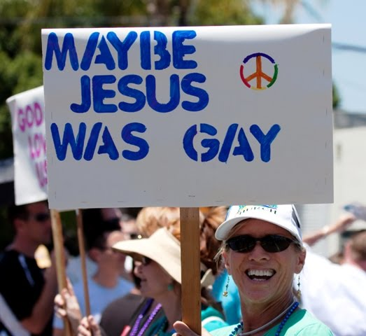 """Maybe Jesus Was Gay"" declared a festive sign in the 2010 San Diego LGBT ..."