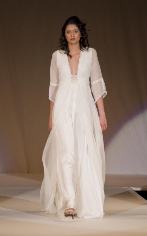 Ivory silk chiffon Grecianfeel wedding dress by Joanne Fleming Design