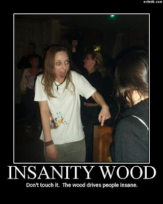 Insanity Wood Demotivational Poster