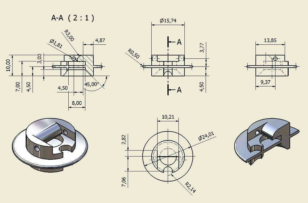 Piezas vistas y cortes vi for Plano de planta dibujo tecnico