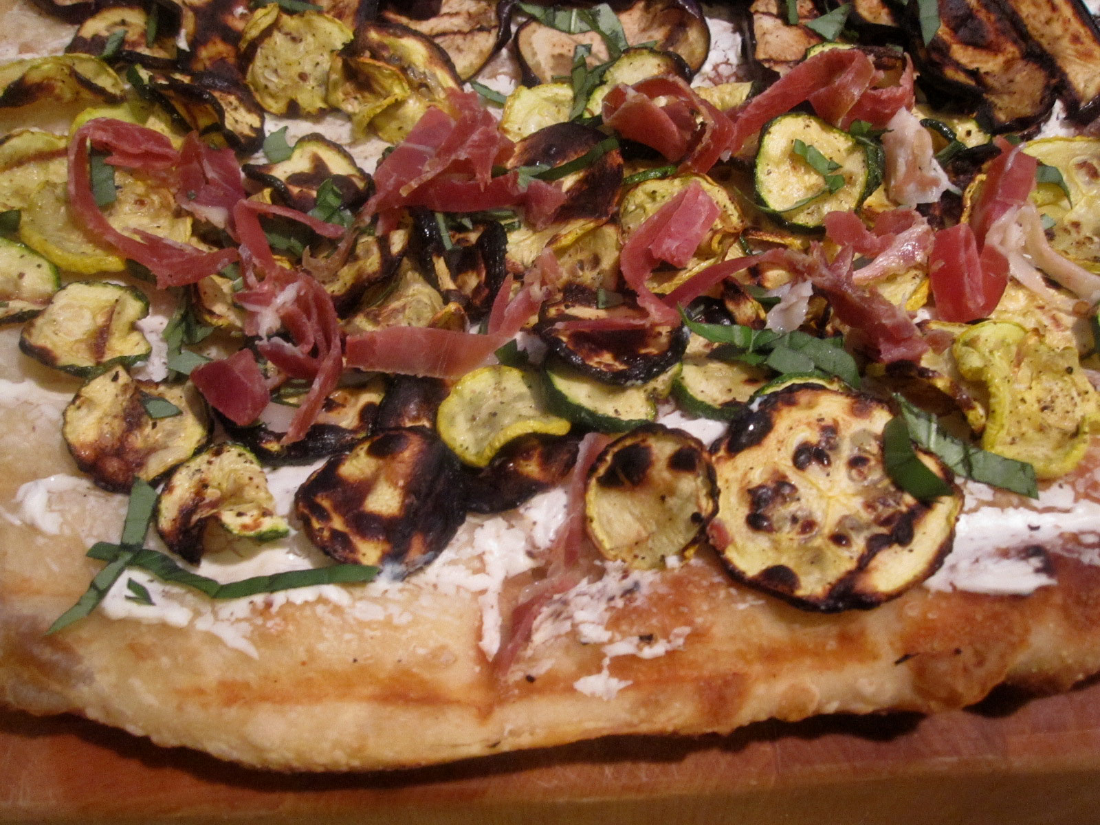 ... Friday Dinner - Grilled Lemony Zucchini and Eggplant Goat Cheese Pizza