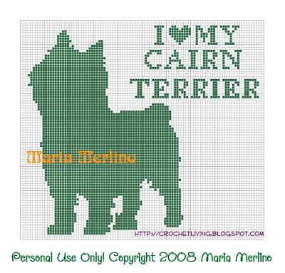 Crochet Pattern - Cairn Terrier Chart/Graph from the Filet crochet