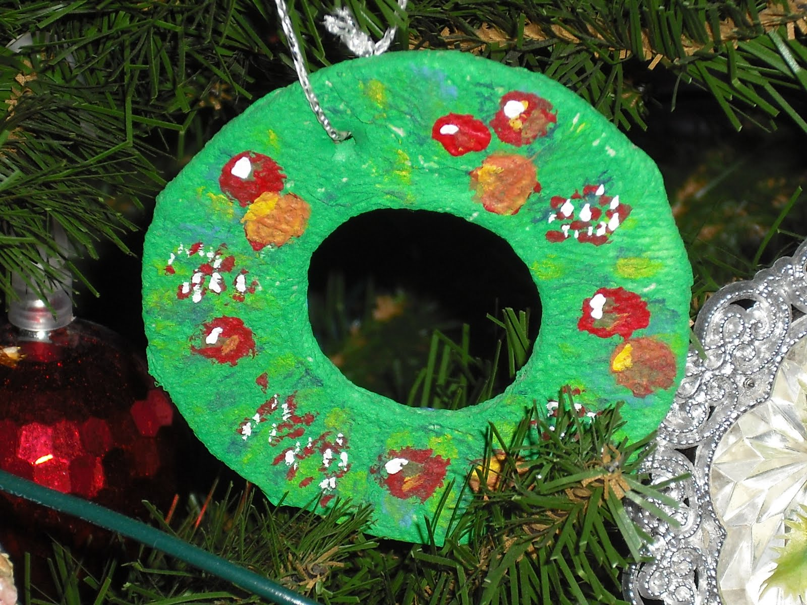 More papier m ch christmas tree decorations heather for Paper mache christmas