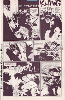 Batman fighting a metal Machine by Paul Pope