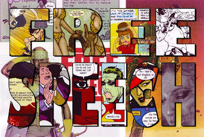 collage from selections of the comic