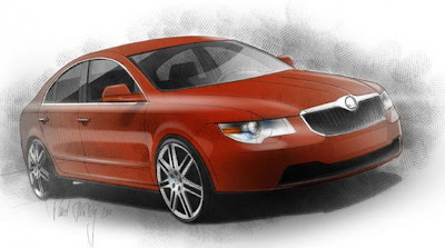 Render: Skoda four-door coupe