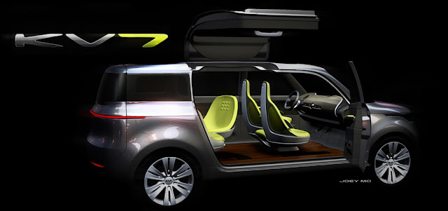 Kia KV7 Concept Gullwing 3 Car reviews:2011 Kia KV7 Concept: A Crossover with gull wing doors   Detroit 2011