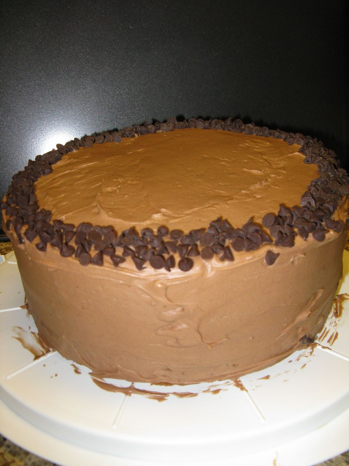 Cake Decoration With Chocolate Chips : Bakers Double: Chocolate Chip Cake with Chocolate Cream ...