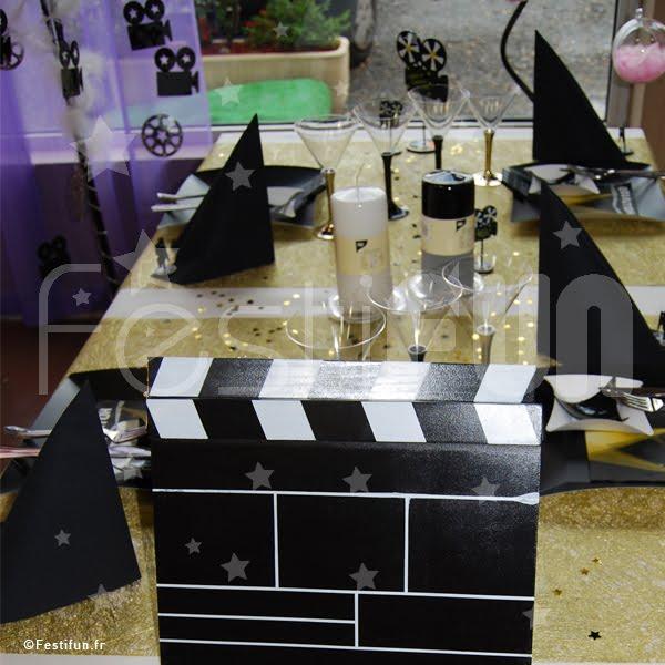 D coration de table hollywood for Table theme cinema