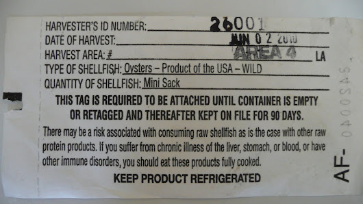 Oyster harvester's tag
