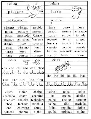 Família silábicas Fichas de Leitura! para crianças