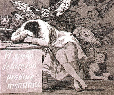 Francisco Goya. The sleep of reason produces monsters (detail), 1799.