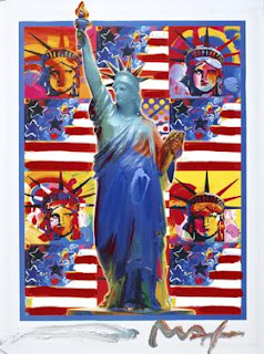 God Bless America - With Five Liberties. Peter Max.