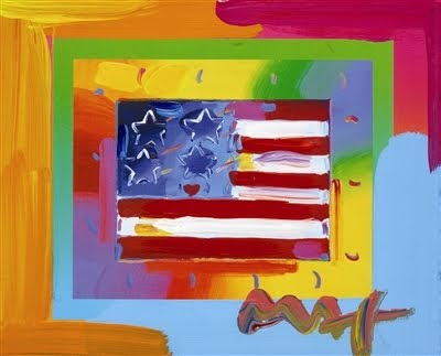 Peter Max, Flag with Heart on Blends - Horizontal Americana Suite, 2005.