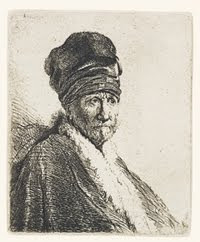 Bust of a Man Wearing a High Cap; Three-Quarters Right. Millennium Impressions Image. Rembrandt van Rijn.