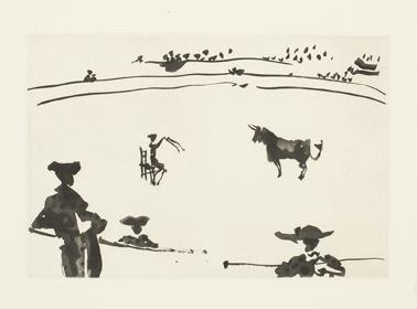 Citando al Toro a Banderillas Sentado en una Silla. From La Tauromaquia. Pablo Picasso.