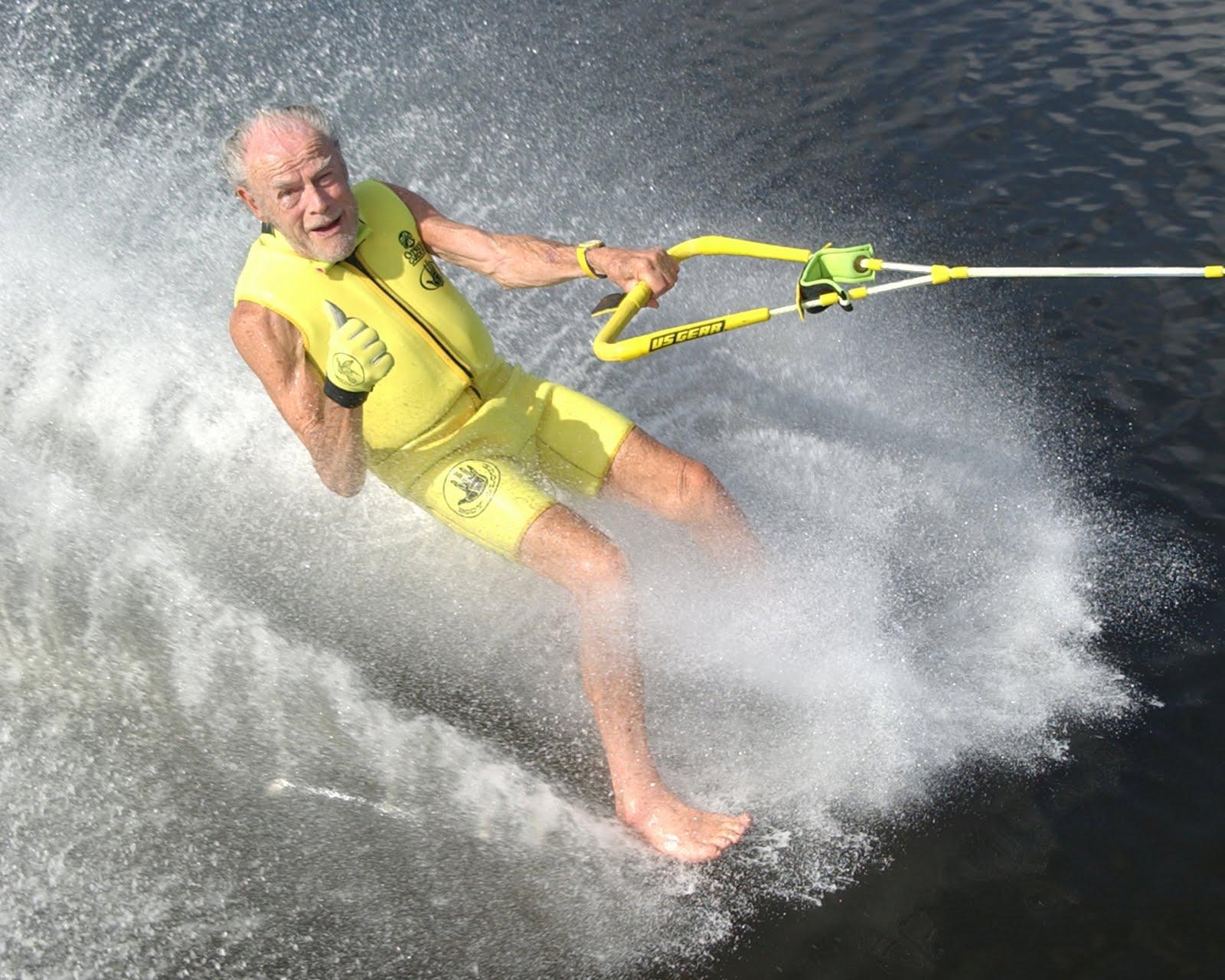 BANANA GEORGE BLAIR, 93 YEARS YOUNG, Bare foot Water Ski