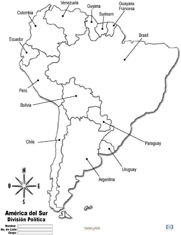 Mapa Politico De America Del Sur Para Colorear