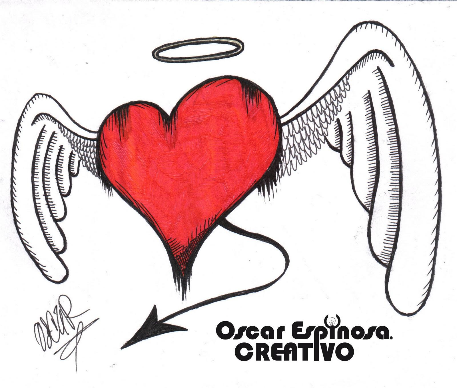 corazon encadenado tecnicas tinta lapiz de color y marcadores