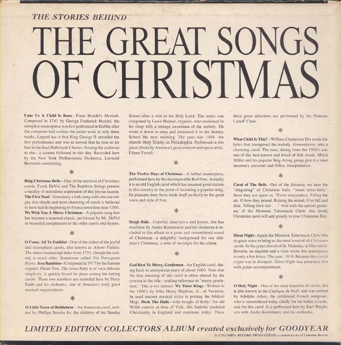 The Great Songs of Christmas from Goodyear: November 2009