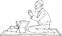 Muslim reading Quran on Eid coloring page