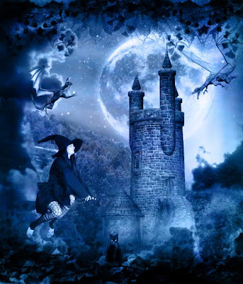 halloween witch in a castle wallpaper