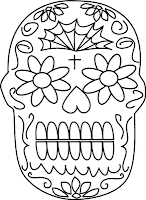 day of dead skull coloring card