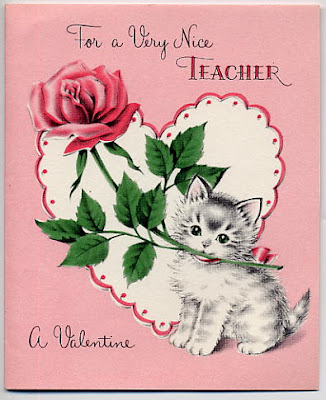 Vintage Teacher Valentines Day Card