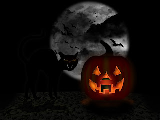 Cat and Bats Halloween Wallpaper
