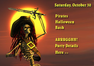 Pirates of Caribbean Halloween Invitation Cards