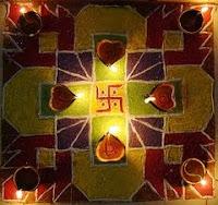 diya rangoli card for diwali