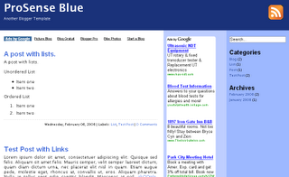 Prosense Blue Blogger Template - Adsense Friendly