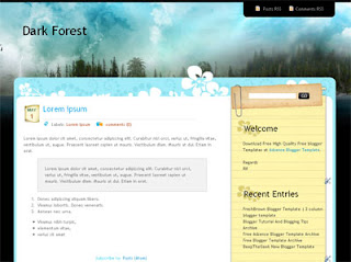 Dark Forest 2 column Blogger Template