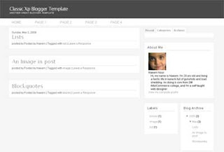Classic XP Blogger Template | Simple and Clean