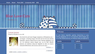 Blue Love Cats Blogger Template