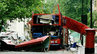 Wreck of a double-decker bus in Tavistock Square after the July 7, 2005, London terror attacks