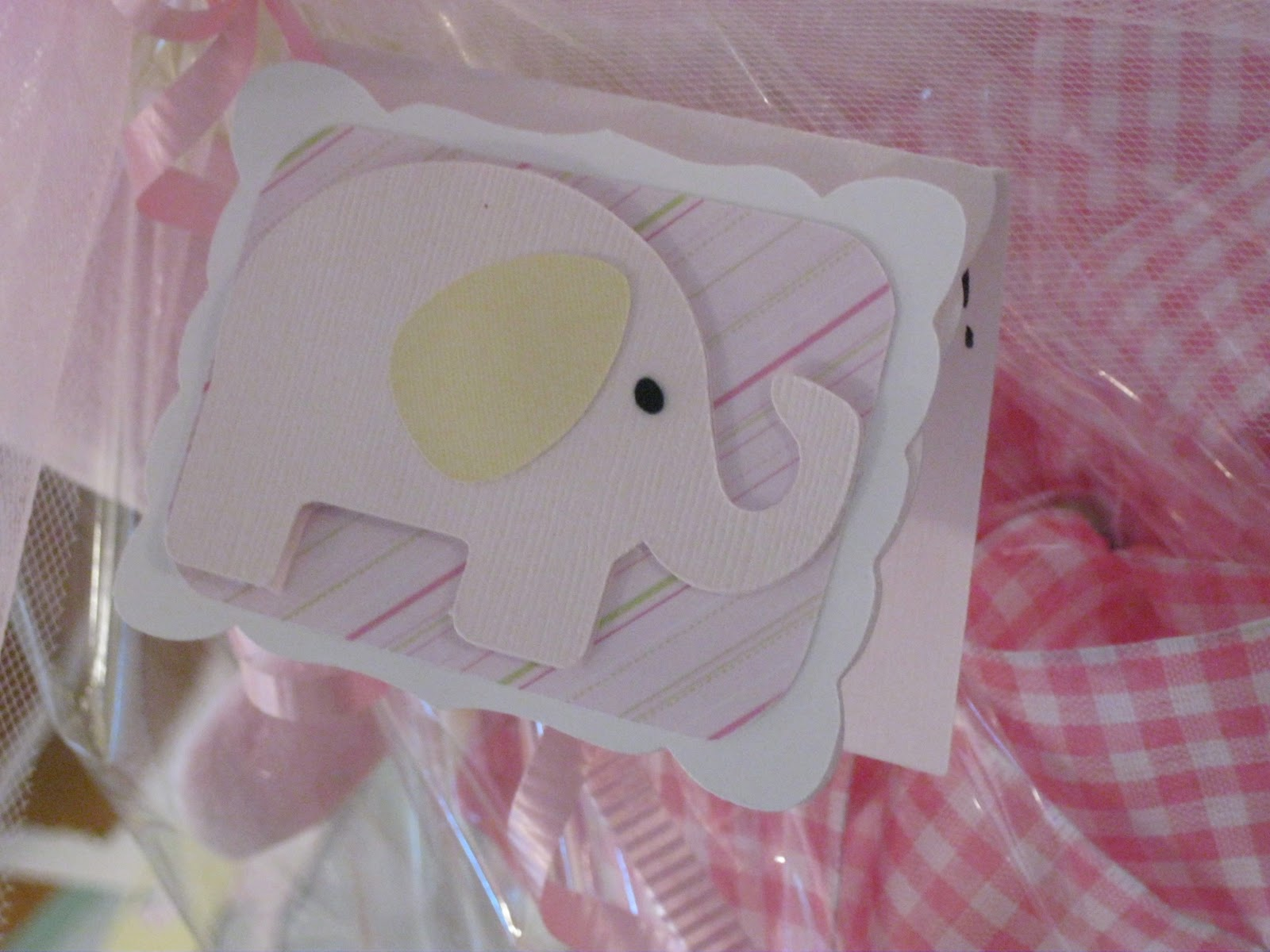 My Paper Trail Pink elephant easel card and Matching tag for baby