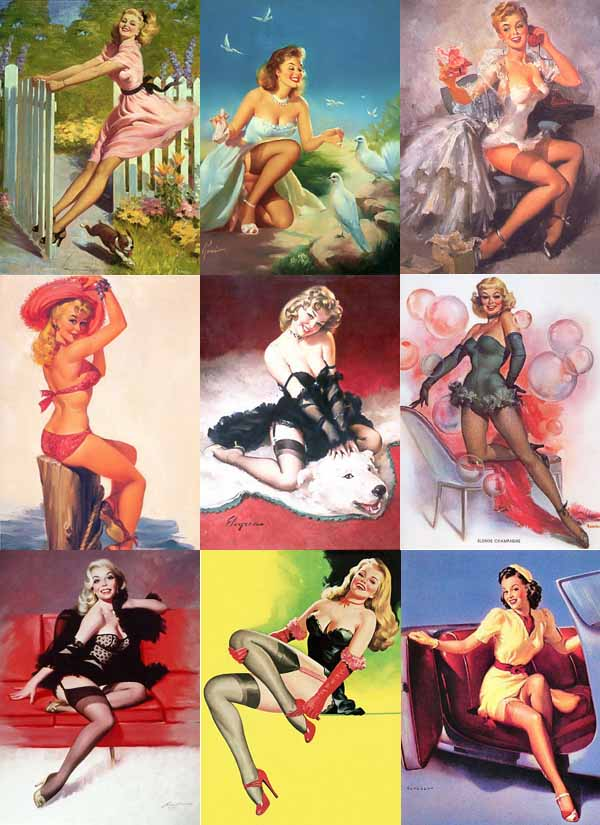 Russian immigrant women in traditional all-American pin-up poses,